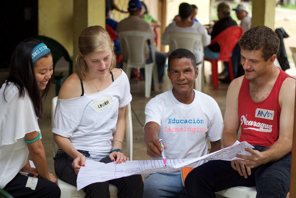 SU students Emily, Laura and Andy work with Daniel, an indigenous leader, on developing an action plan for youth empowerment at an Intercultural Youth Camp in Puerto Cabezas, Nicaragua (photo by Julia Bragado)