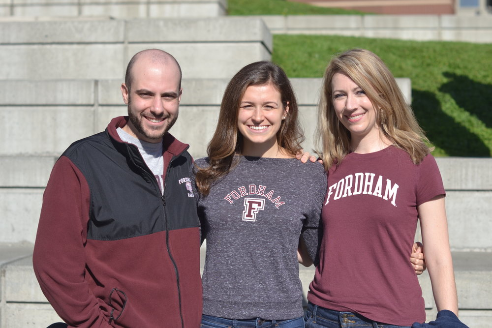 (Above L-R): Michael Trerotola (Fordham '10; ASN Chapter Faculty Advisor); Morgan Menzzasalma (Fordham '19; ASN Chapter President); Deanna Howes Spiro (Fordham '07; Alpha Sigma Nu Board of Directors; Director of Communications, AJCU)