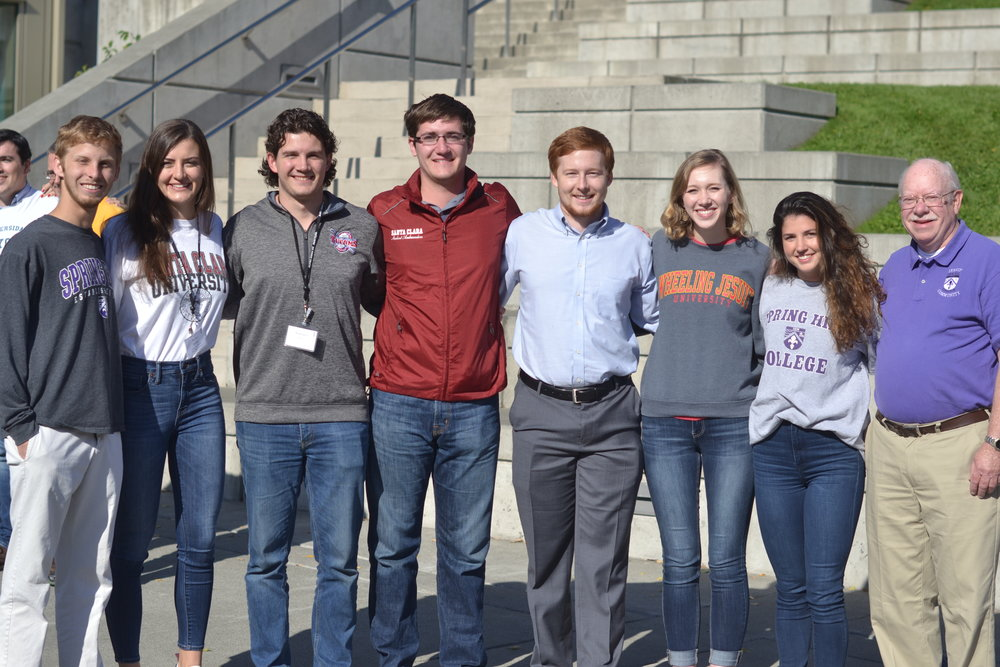 Stephen Gretchen of Wheeling jesuit University (Fourth from the right) with ASN members from Spring Hill College, Santa Clara University and the University of Detroit Mercy