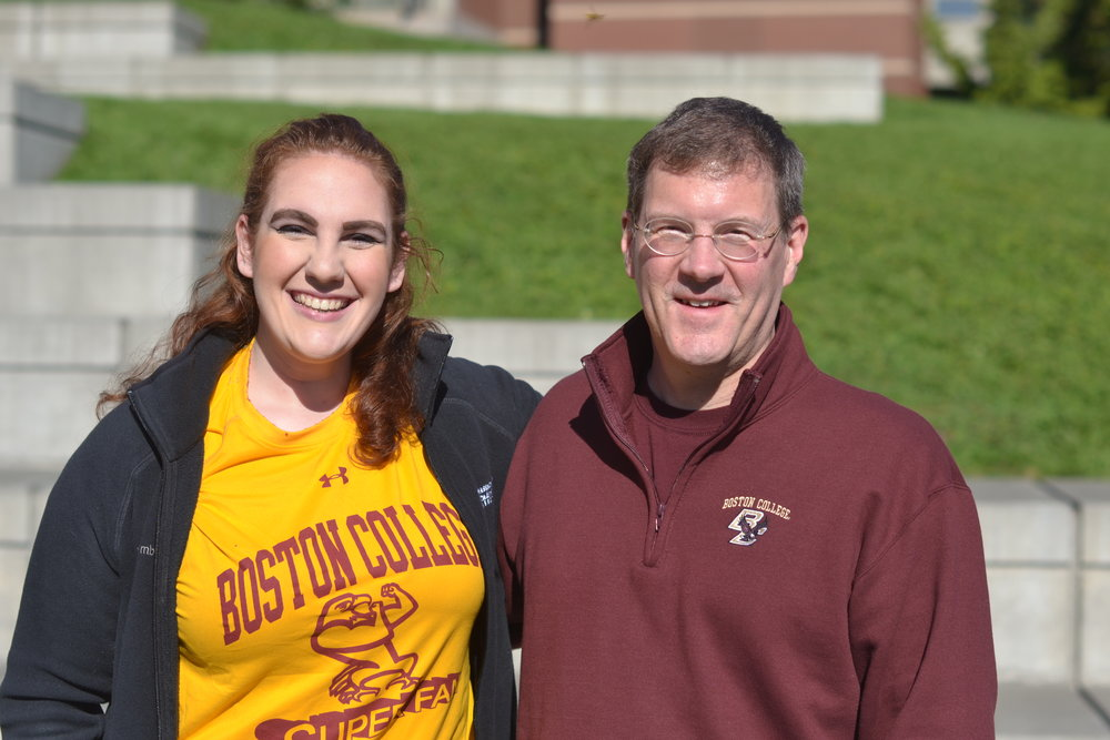 Maria Meyer (Boston College '19; ASN Student Board Member) and Rev. Gregory Kalscheur, S.J. (Dean of the Morrissey College of Arts & Sciences at Boston College; ASN Board of Directors)