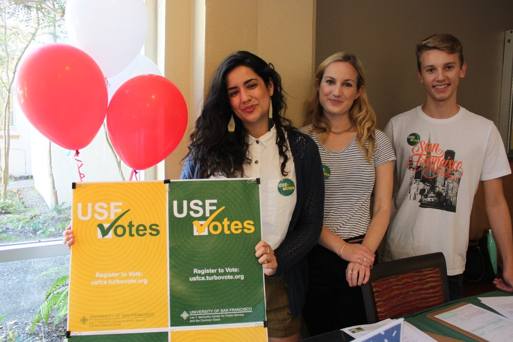 Volunteers help students at the University of San Francisco register to vote (photo courtesy of the University of San Francisco)