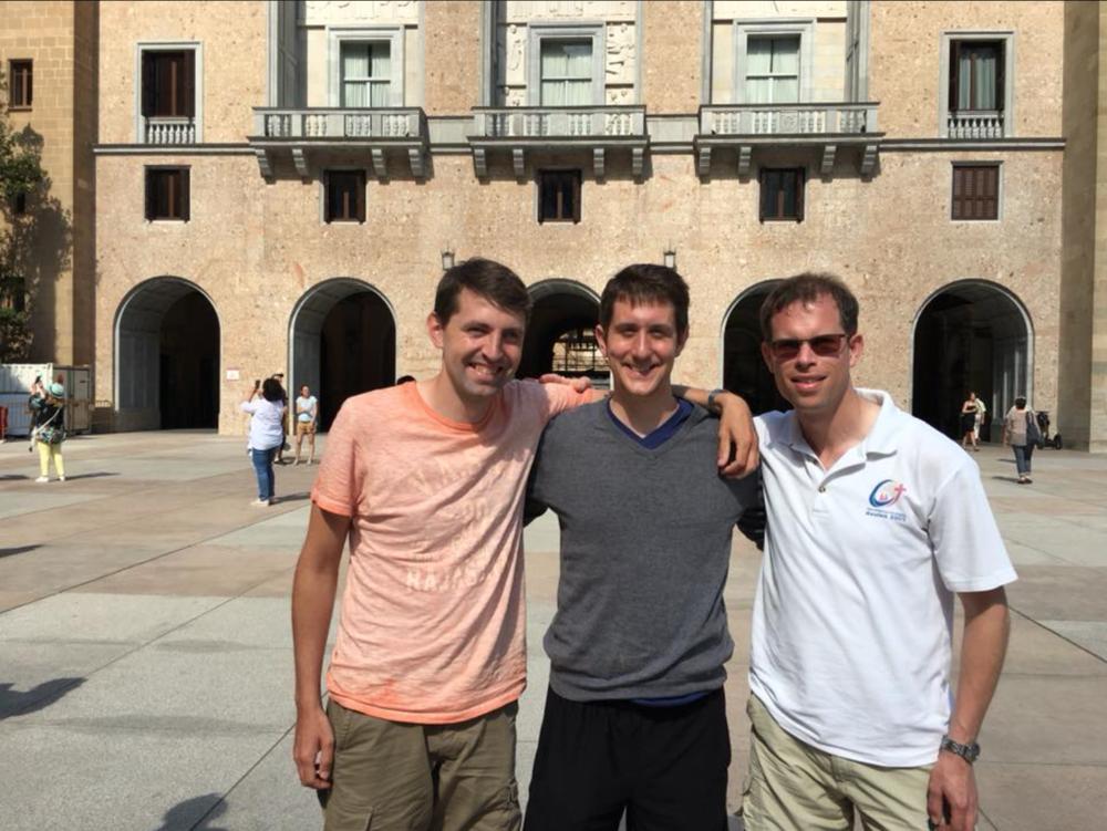 David J. W. Inczauskis, S.J. (center) with Thomas Klein, S.J. and Jos Moons, S.J. at Montserrat, Spain (All photos contributed by David J. W. Inczauskis, S.J.)