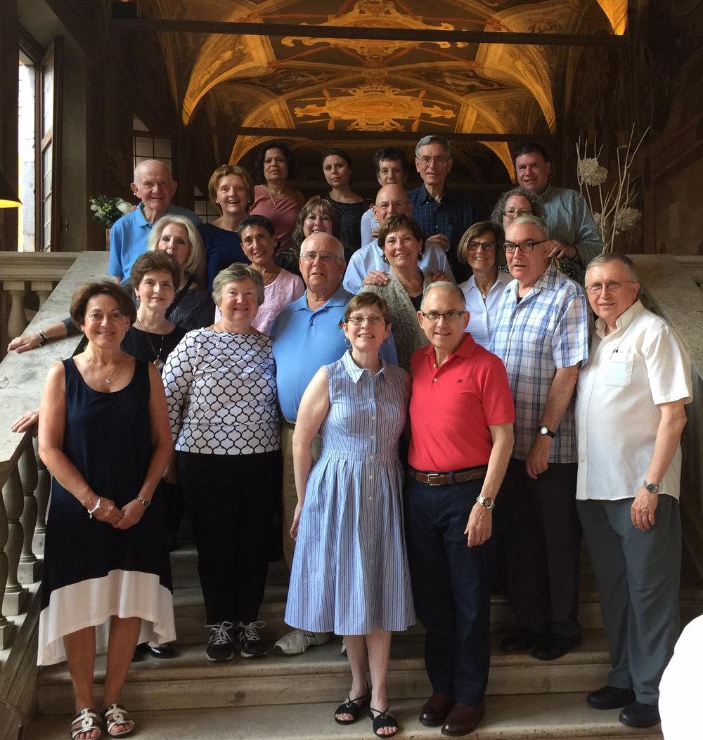 Saint Peter's University President Eugene J. Cornacchia, Ph.D. (front center in red) with Saint Peter's alumni in Rome (Photo by Saint Peter's University)