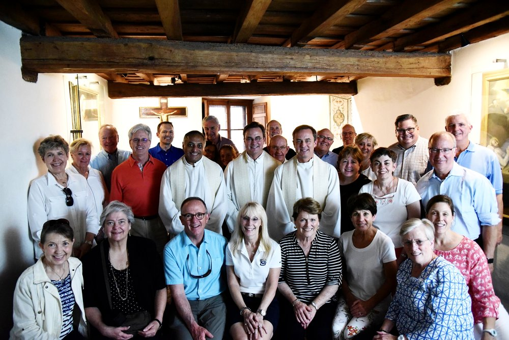 Creighton University President, Rev. Daniel S. Hendrickson, S.J. (center), joined a group of Creighton trustees, trustees emeriti, senior leaders and friends of Creighton on an Ignatian pilgrimage through Europe in Summer 2018. The group is pictured here in the rooms of St. Ignatius in Rome. (Photo by Creighton University)