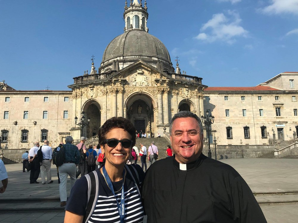 Le Moyne College President, Linda LeMura, Ph.D., with Provost and Vice President for Academic Affairs, Rev. Joseph Marina, S.J. in front of the Sanctuary of Loyola in Spain (photo by Le Moyne College)