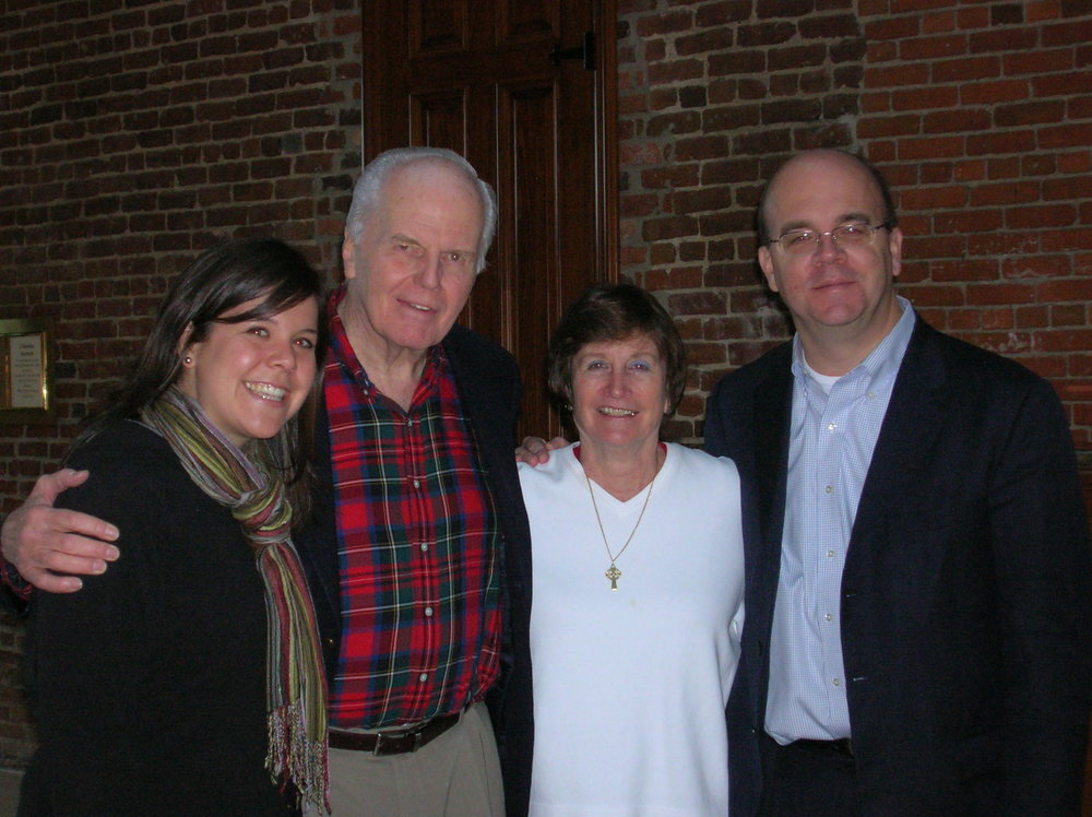Fr. Currie with former AJCU staffer Sarah Berger Gonzalez, Loretta Holstein (wife of former Jesuit and social justice advocate, Robert M. Holstein) and Representative James McGovern (D-MA)