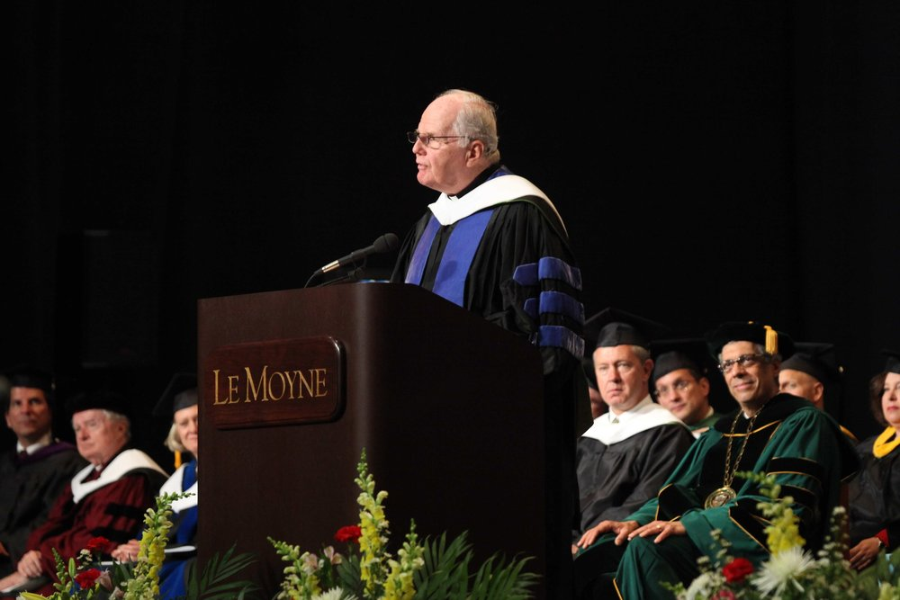 Fr. Currie delivered the commencement address at Le Moyne College in spring 2009