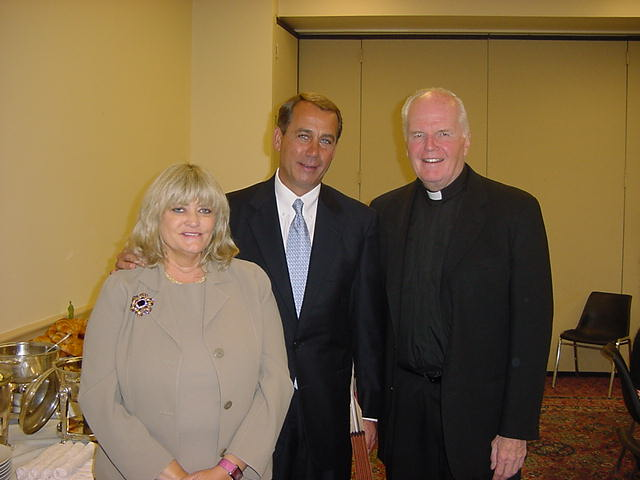Fr. Currie with Cyndy Littlefield (AJCU's Vice President for Federal Relations) and John Boehner (former Speaker of the U.S. House of Representatives) on Capitol Hill in 2005