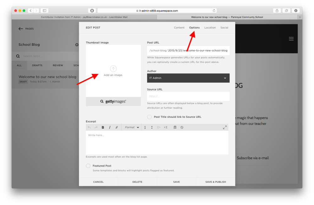 You have the option to upload thumbnails (small pictures that will appear in the News section on the main page, and write an excerpt of the post. You can access this by selecting 'OPTIONS' on the tab menu at the top of the window. This is highlighted on the screenshot