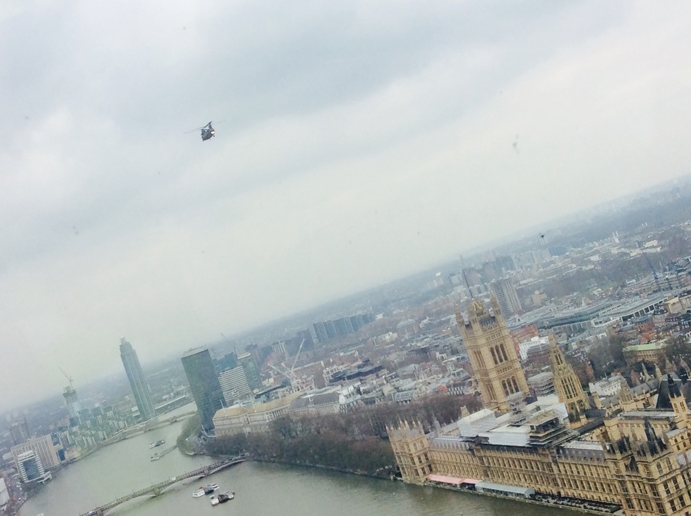 A fly past by the RAF in a chinook when at the top of London Eye was impressive, but it was made even better when they waved to us and we could see them stood in the open back of the helicopter!