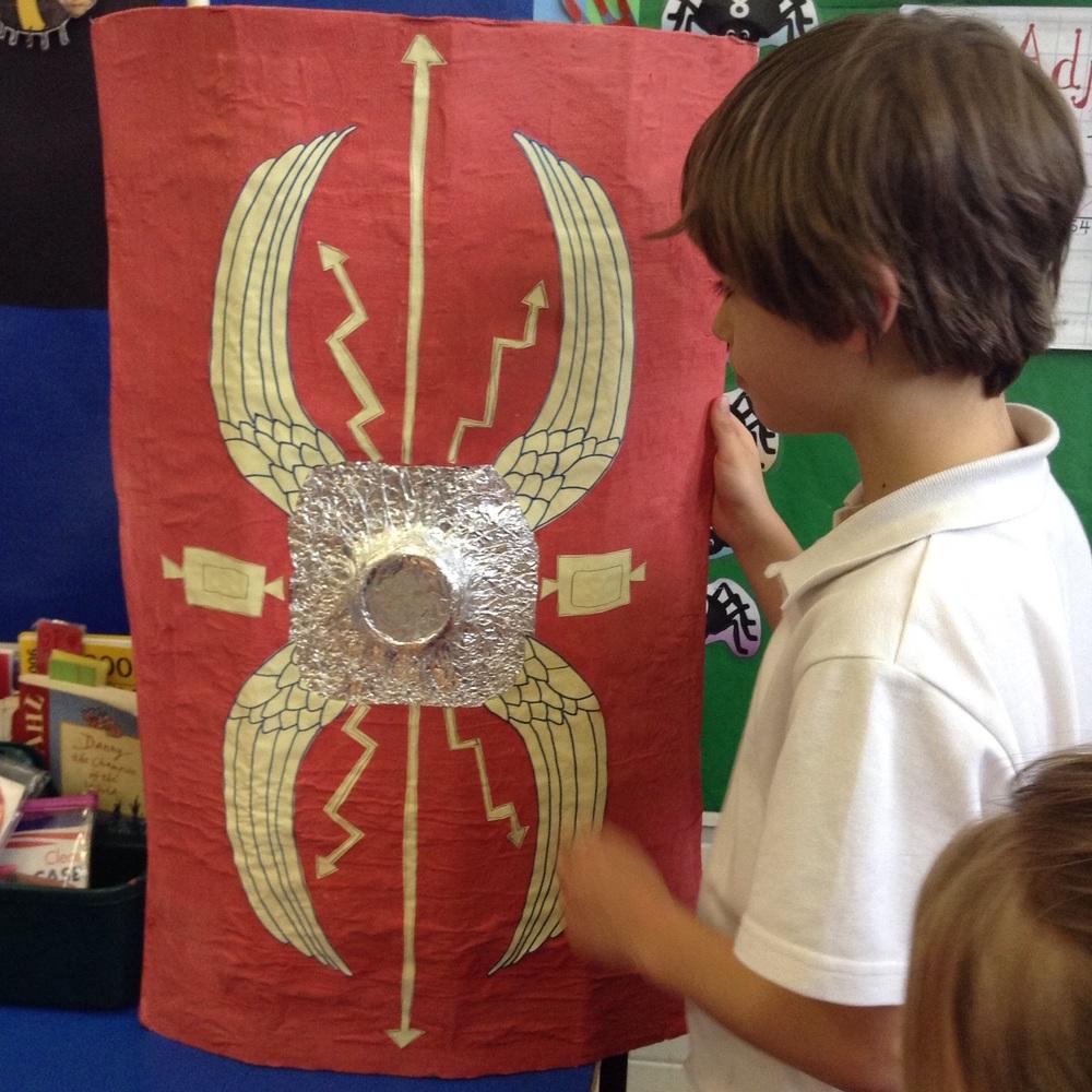 Freddy shows us his fantastic Roman shield!