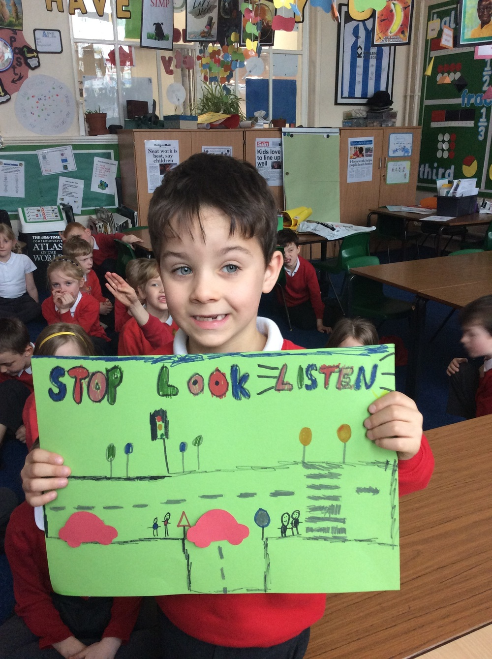 Jack is proud of his road safety poster....