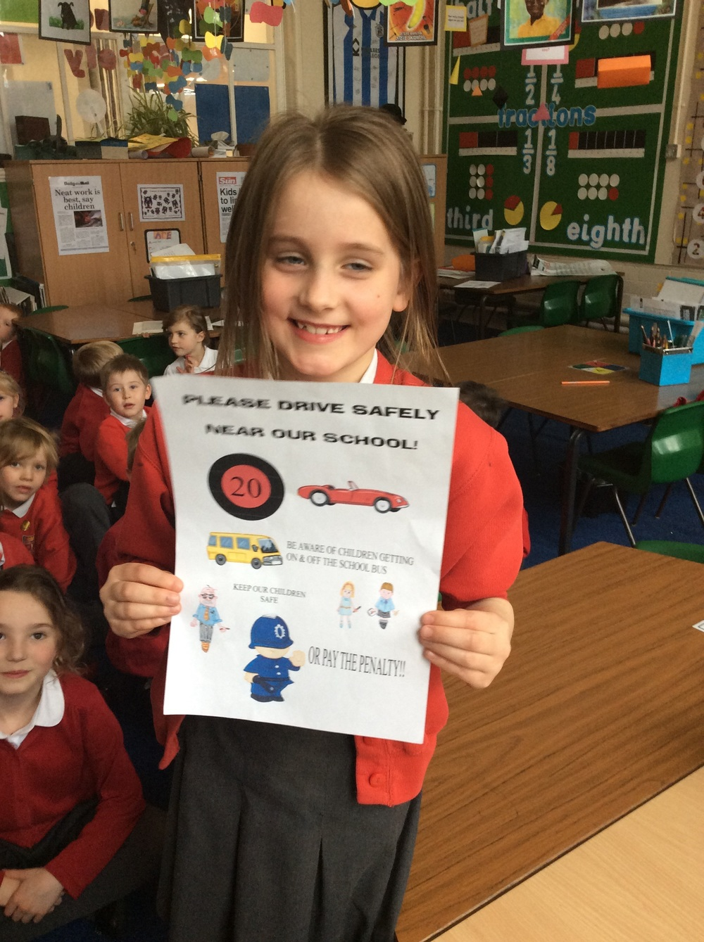 Nicole used her computer to design her road safety poster...