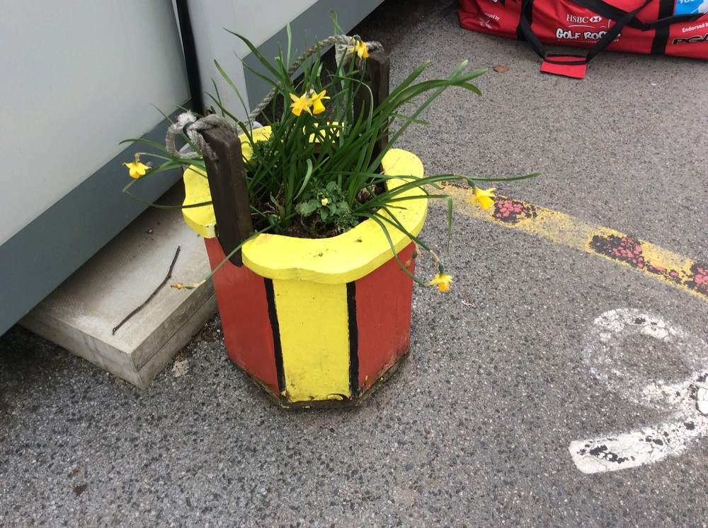 These planters brighten up the school.
