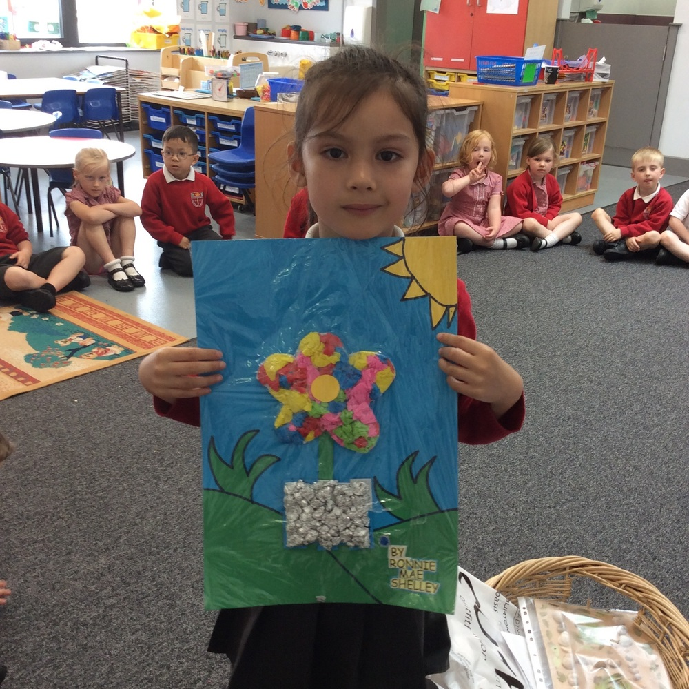 Using bright art materials to make this flower.
