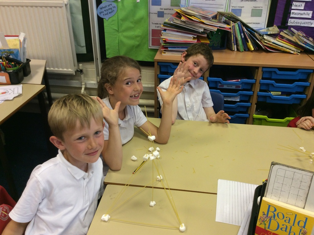 The winners with the tallest tower: James, Isla and Josh.