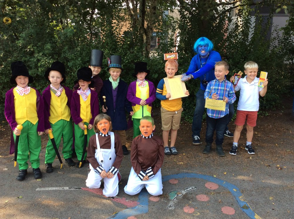 Mr Wonka was pleased that he had his Oompa Lumpas to help as Charlie and Violet arrived with their golden tickets and Wonka bars. Scrumdiddlyumptious!