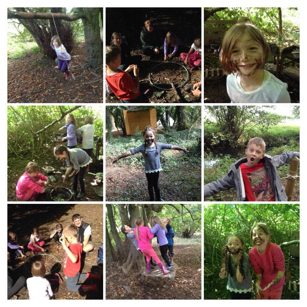 The mud kitchen was a hit! We found objects in the woods we thought were special.