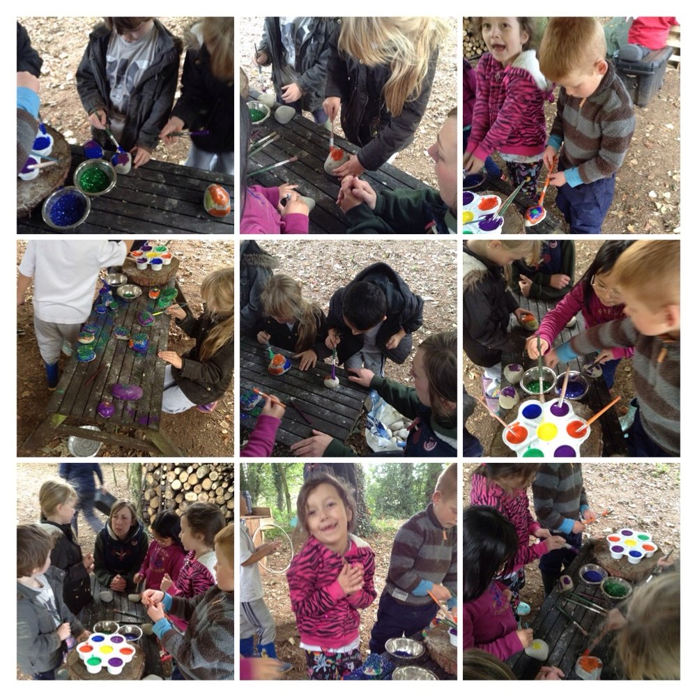 We painted rocks to put in the fairy garden.