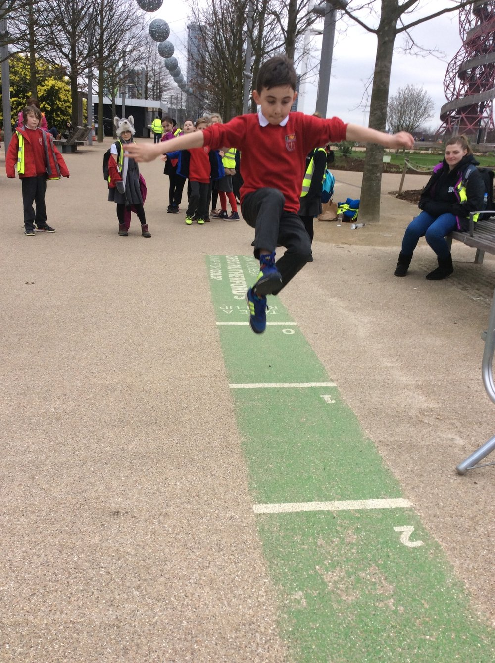 Classy technique and great height. Greg Rutherford reached more than 8m, Alfie was Parkroyal's champion with 3m.      Mrs Savage  'wooden' really want to get up