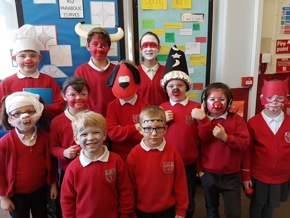 Dressed as the 9 Red Noses #makingourselvesfunnyformoney #Rednoseday2017