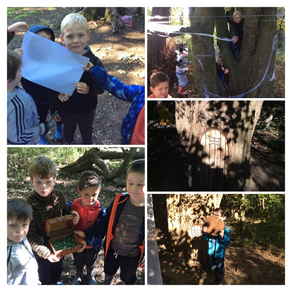 Hunting in the woods to find doors, gems, spider webs and much much more. We shared how we felt when we got to the doors. The words to describe how they felt included brave, really really excited and courageous.