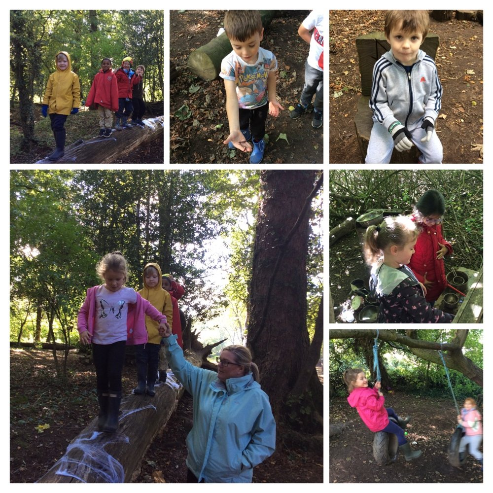 Having fun playing and exploring the woods.