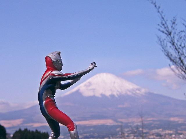 Mt. Fuji and Japanese fictional super hero character figure Ultra-Man. Photo by: Flickr@Emran Kassim