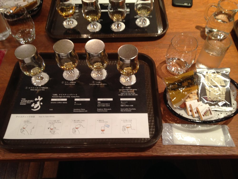 4 different whiskey tasting of different types and flavors with snacks and other treats on the side. Some of which include the   White Oak Cask Malt  , the   Wine Cask Malt   and the   Yamazaki Single Malt Whiskey  .