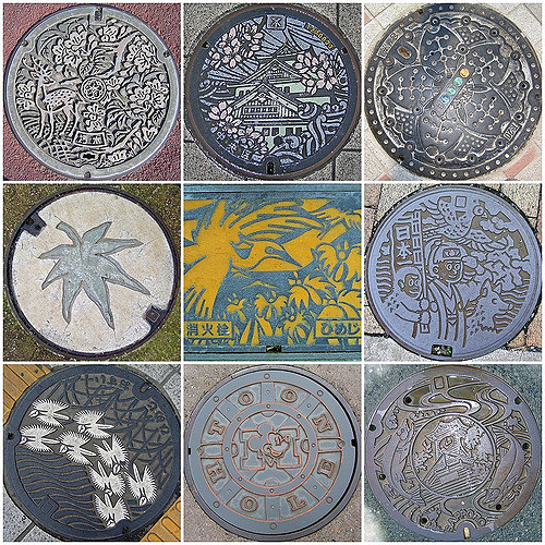 The manhole covers, starting from the top left hand corner going across, are from different locations in Nara, Osaka, Tokyo, Miyajima, Himeji, Okayama, Himeji, Disneyland and Sapporo.「Photo by: Flickr@Ruth Hartnup」