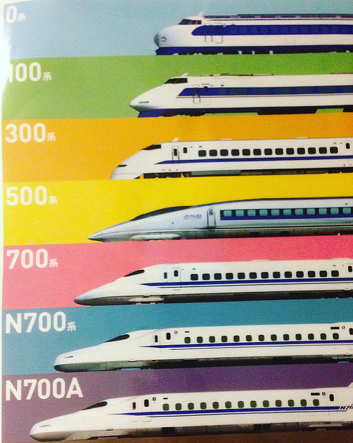 "The Shinkansen progress from the 1968s traveling roughly at 200 km/h to todays bullet trains traveling at the maximum speeds of 300 km/h. The ""a"" in the N700A series stands for advanced which is an improvement version of the N700 series. PHOTO BY FLICKR@PROMoto Club4AG Miwa"