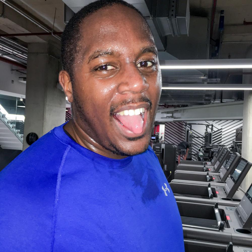 Sweaty, post sprint selfie