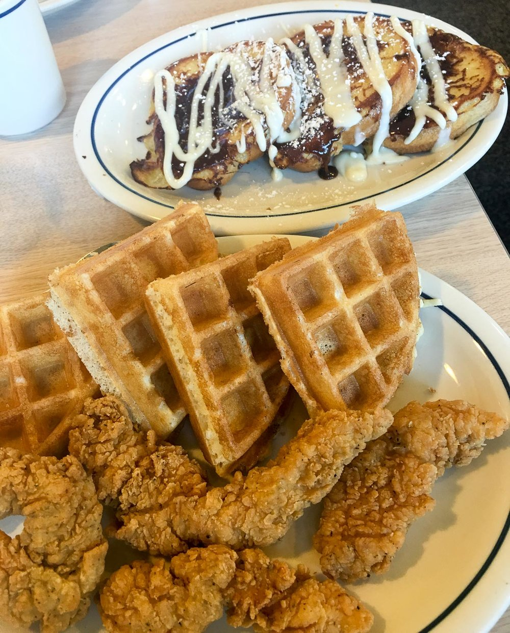 Chicken & Waffles with Cinnamon French Toast, iHOP (A must in my eyes)