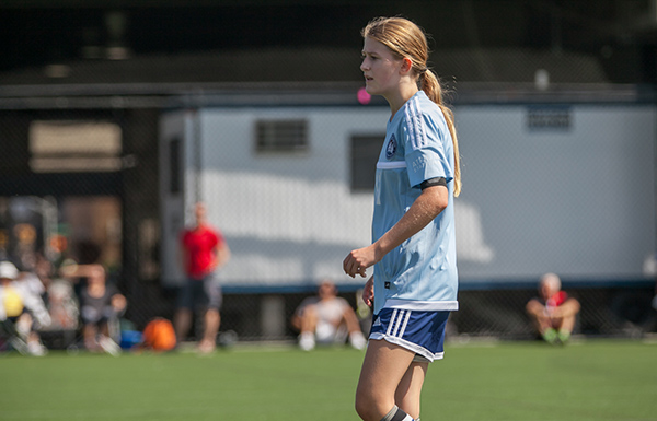 A DUSC GU14 player at Pier 40.