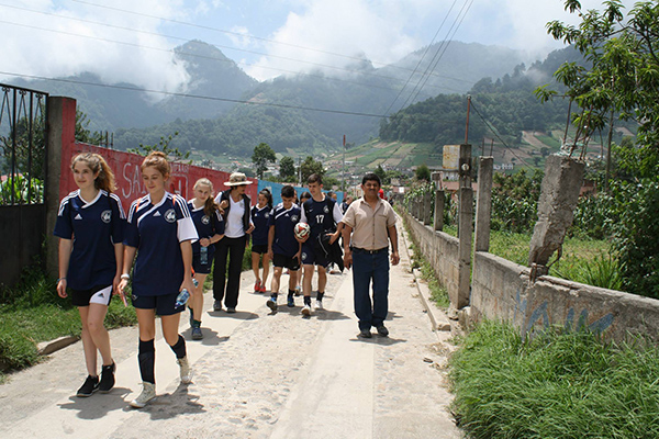 DUSC players with Soccer Recycles exploring Guatemala.