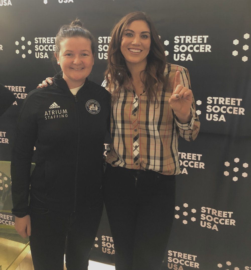 Leanne (left) with US Women's National Team International Hope Solo (right)