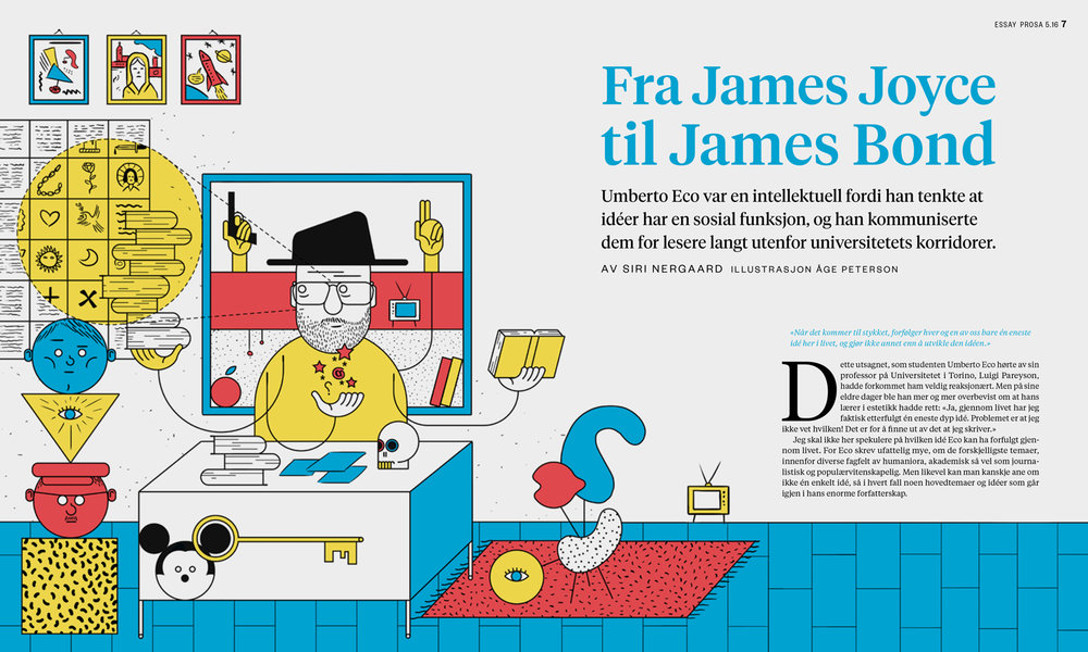The opening spread of the essay, with a re-use of the cover illustration, inverted and with different colors.