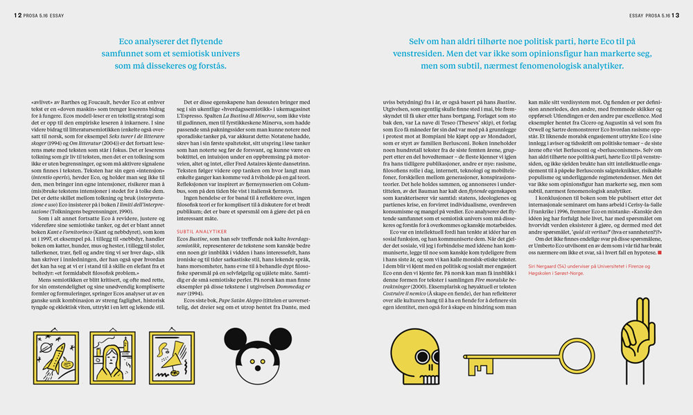 Example of a spread from the essay, with individual elements/icons from the Umberto Eco office scene. I made the cover illustration with this intent, and because of Umberto Eco's focus on iconography in his writings.