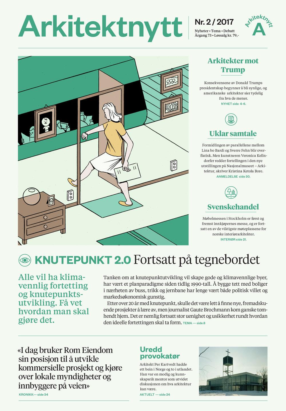 Front page of Arkitektnytt nr.2 – 2017, designed by Bielke&Yang.