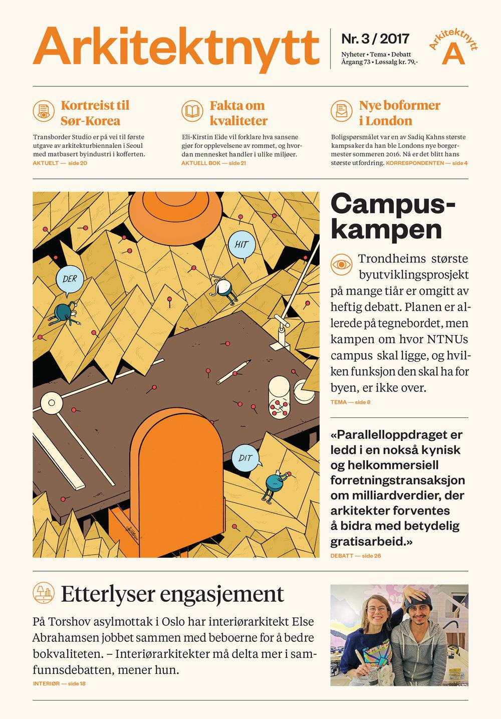 Front page of Arkitektnytt nr. 3 – 2017, designed by Bielke&Yang.