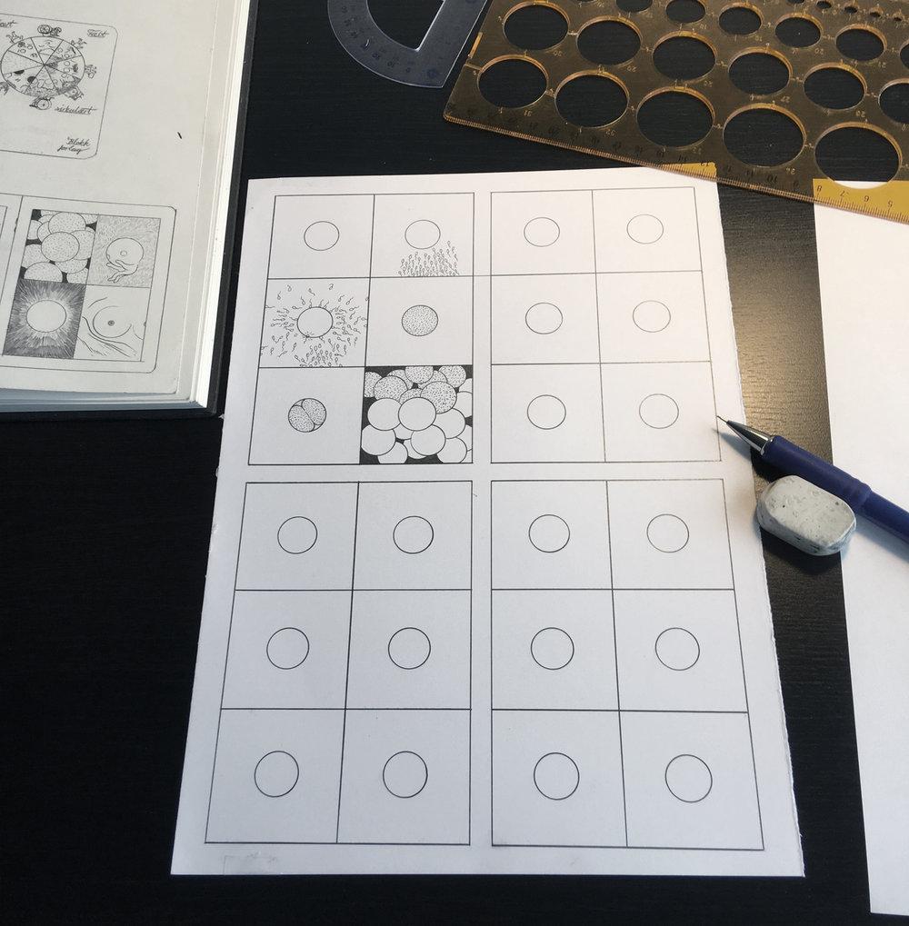Foto av originaltegning i blyant. Jeg tegnet opp sirklene med template-linjal på forhånd og baserte alle individuelle tegninger på dette.