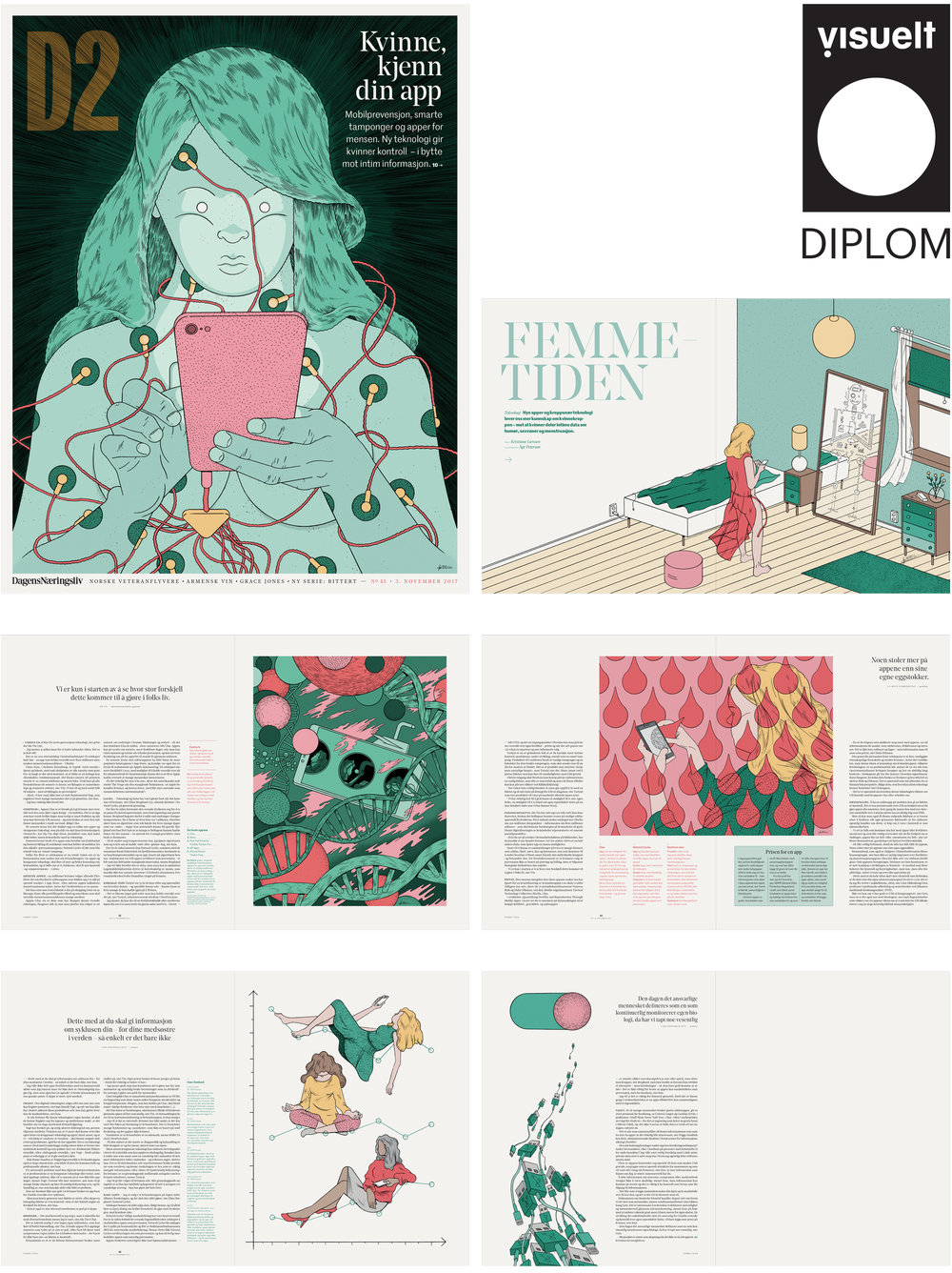 Cover and spreads from «Femmetiden» in D2 (Dagens Næringsliv).