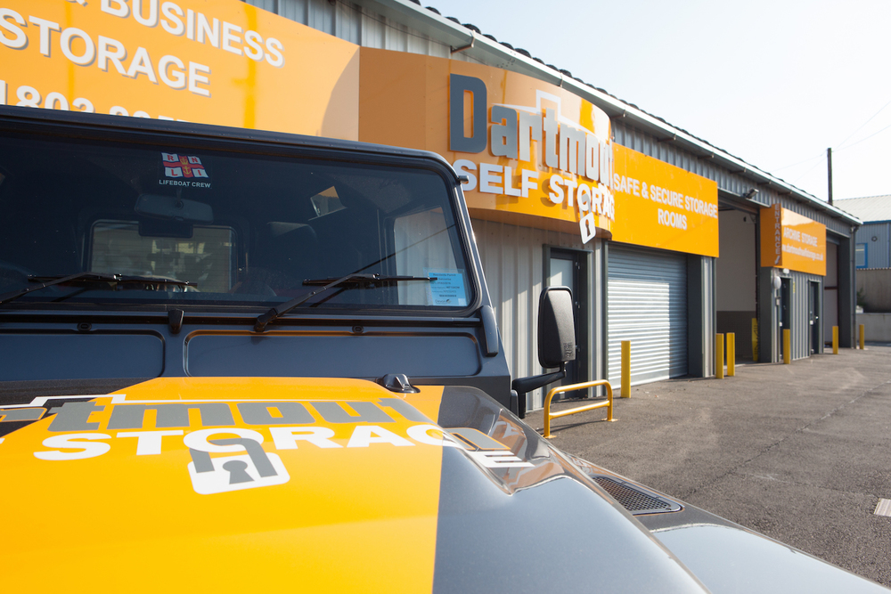 Forecourt and Land Rover at Dartmouth Self Storage
