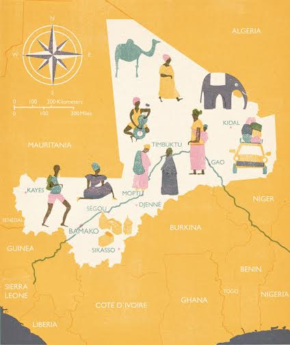 Map of Mali for the Childrens Charity Organization, Third World by Barbara Dziadosz