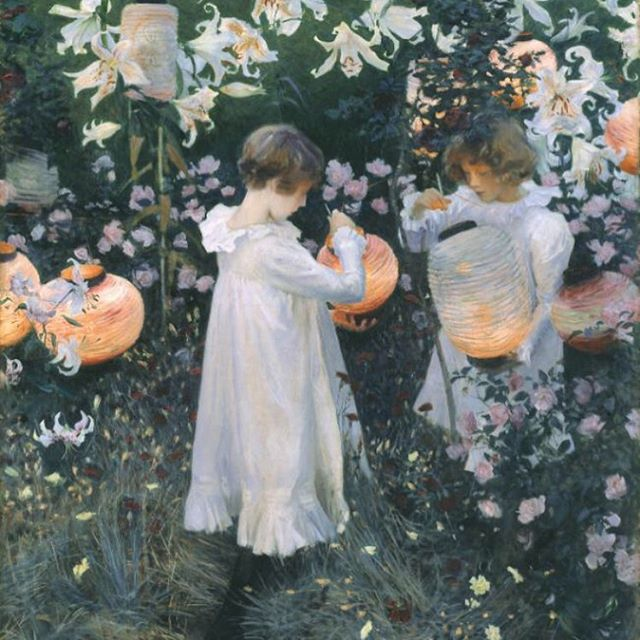 Carnation, Lily, Lily, Rose • John Singer Sargent (1885-6)  Sargent was a true master at chasing the light, in this case, the mauvish light of dusk.  #ImpressionistsinLondon #chasethelight