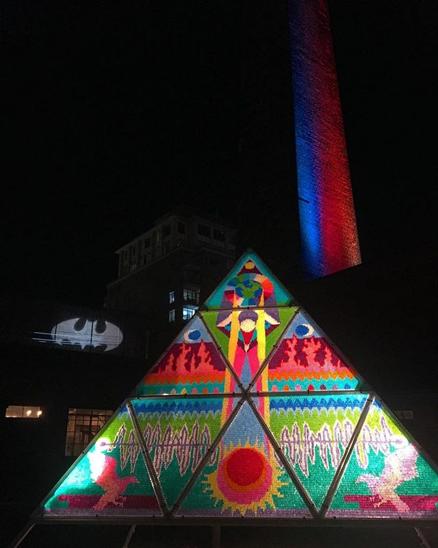 Toronto Light Fest #batman #torontolightfest #toronto #tdot #lightfestival #gummybears #art #pyramid #torontolife #nightlife #getoutside #nightshot #roam #mustsee #wanderlust #distillerydistrict #photooftheday #tlf