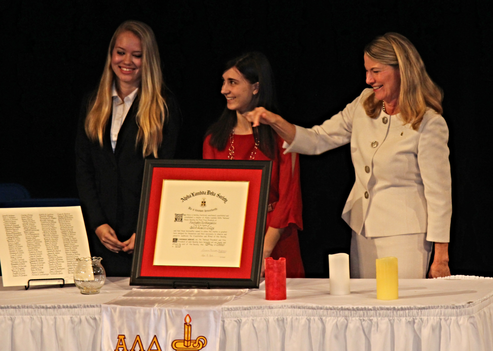 alpha lambda delta charter being presented at saint anselm college's installation ceremony