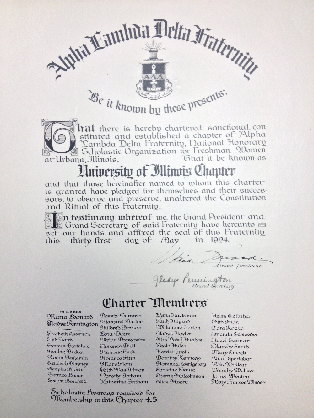 the charter of the first alpha lambda delta chapter at the university of illinois, 1924