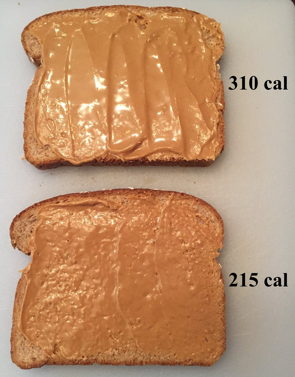 1 serving vs. 1/2 serving of peanut butter on a slice of bread.