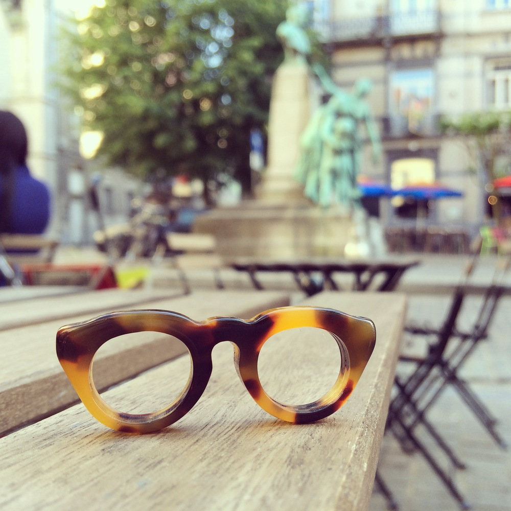 Cute little glasses on a terrace in Brussels